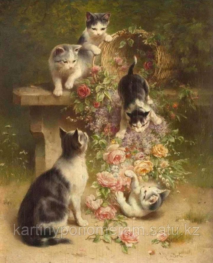 "Картина по номерам ""Котята с корзиной цветов"""