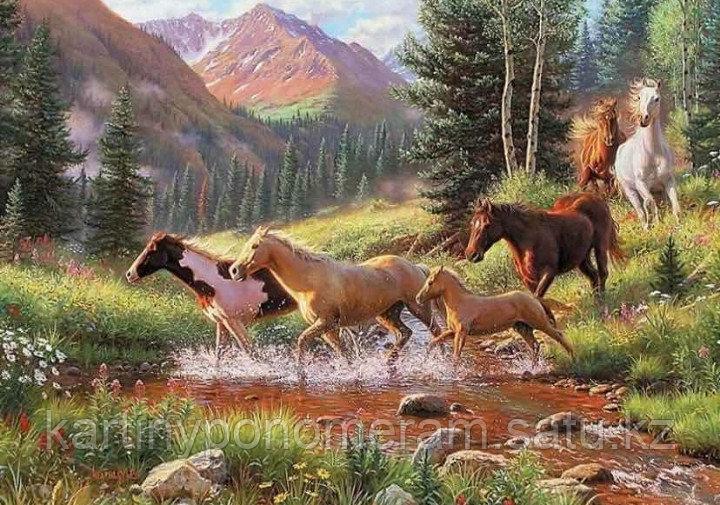 "Картины по номерам ""Лошади у реки"""