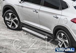 """Порог-площадка """"Silver"""" F173AL + комплект крепежа, RIVAL, Hyundai Tucson 2015-, фото 2"""