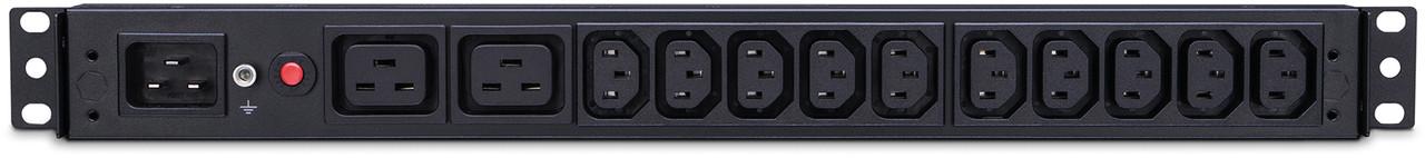 Блок распределения питания (1U)  вход IEC C20  выход 16А  10 розеток C13 и 2 розетки C19