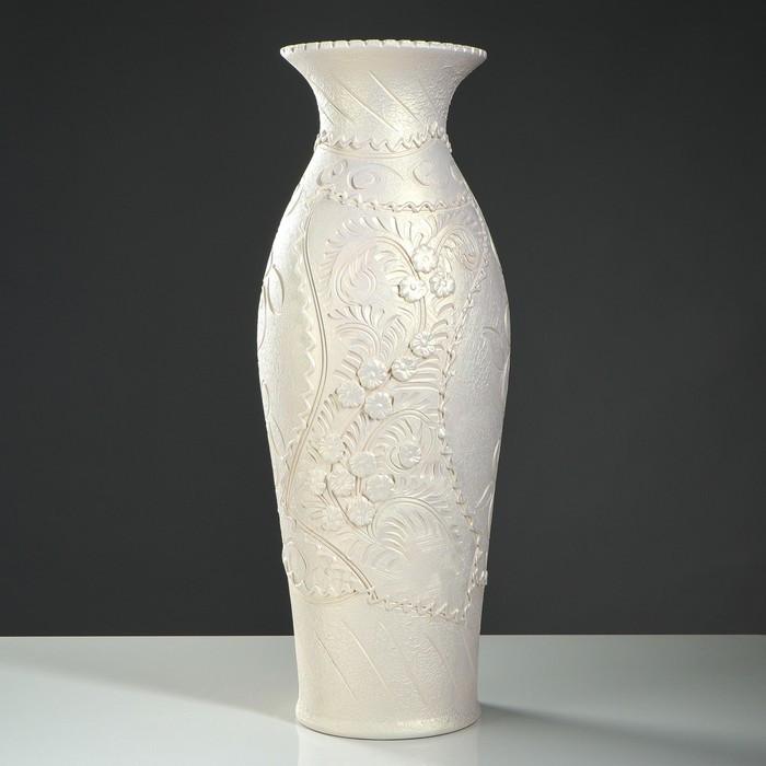 """Ваза напольная """"Эллада"""", декор лепкой, белый цвет, 64 см, микс"""