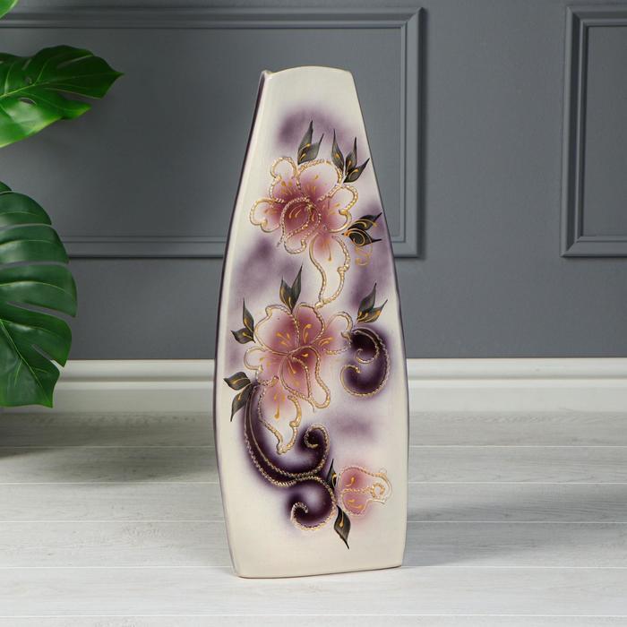 """Ваза напольная """"Скала"""", цветы, глазурь, фиолетовая, 59 см"""