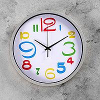 """Часы настенные круглые """"Цветные цифры"""", d=29 см, циферблат белый, рама хром, фото 1"""