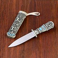 Нож под кость резной с цв. камнями, металл, пластик, 20см