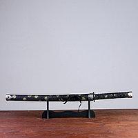 Сувенирное оружие «Катана на подставке», чёрные ножны с золотыми кругами, 70 см