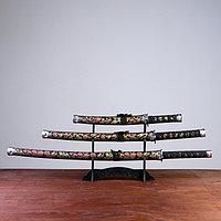 Сув. изделие катаны 3в1 на подставке, ножны ткань, драконы золото на черном 47/70/89см, фото 1
