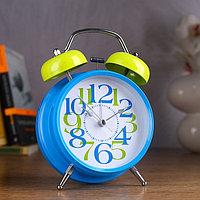 """Будильник """"Доброе утро"""", d=11.5 см, голубой, крупные цифры"""