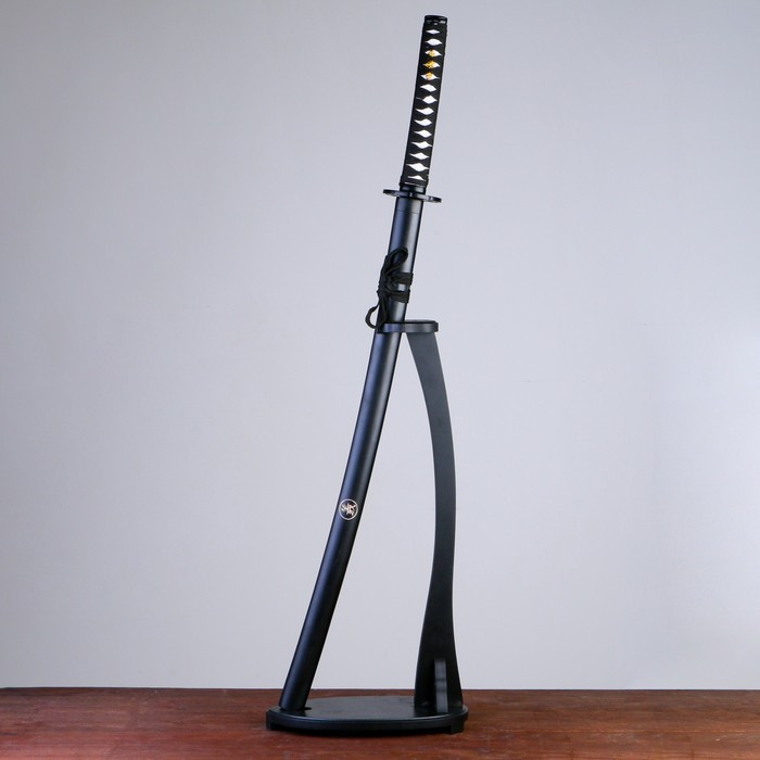Сувенирное оружие «Катана на подставке», чёрные ножны с иероглифами, 104см
