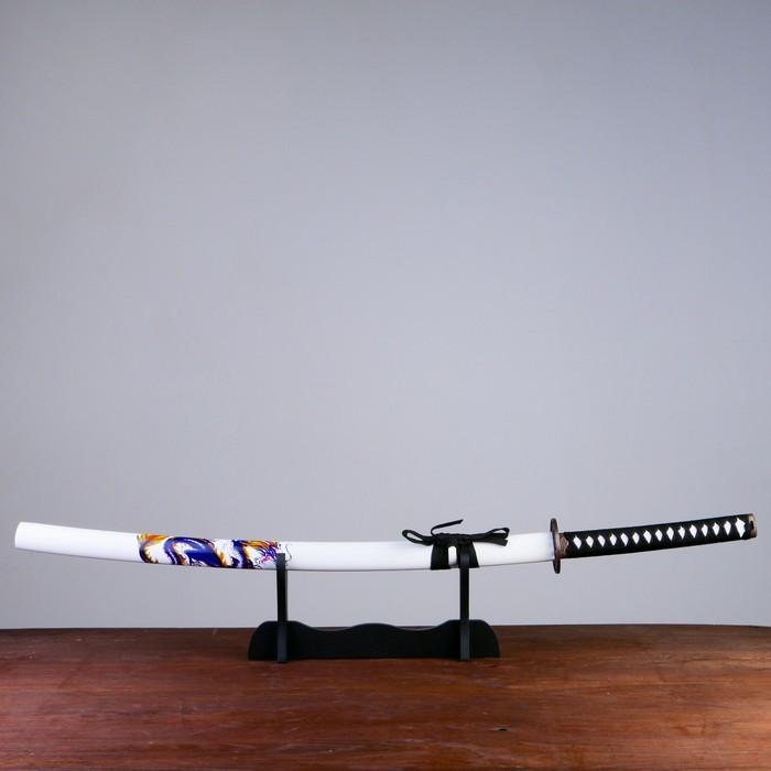 Сувенирное оружие «Катана на подставке», белые ножны с синим драконом, 103см