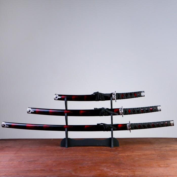 Сув. изделие катаны 3в1 на подставке, ножны дерево, черные с дымкой бордо глянец 54/81/100см