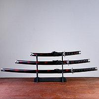 Сув. изделие катаны 3в1 на подставке, ножны дерево, черные с дымкой бордо глянец 54/81/100см, фото 1