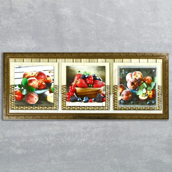 """Часы-картина настенные, серия: Кухня, """"Фруктовый восторг"""", 35х100  см, микс"""