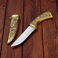 Сувенирный нож, рукоять под золото, расписная объемная, на ножнах пес, 5х30 см