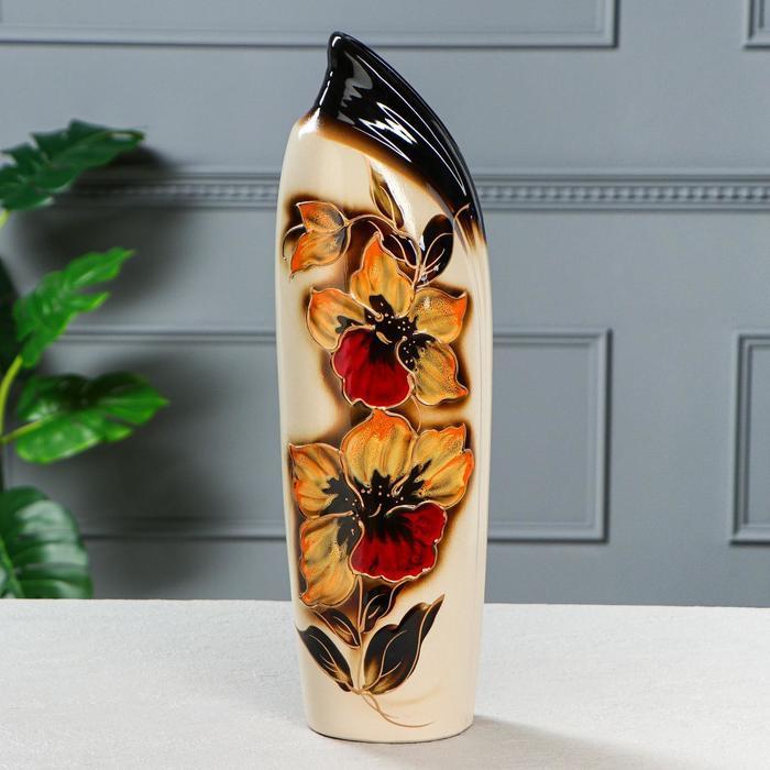 """Ваза напольная """"Мали"""", цветы, коричневая 45 см"""