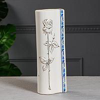 """Ваза настольная """"Роза"""" роспись золото, белая, 34 см, микс"""