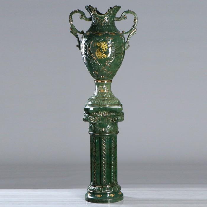 """Ваза напольная """"Астория"""", на колонне, под малахит, зелёный цвет, 170 см"""