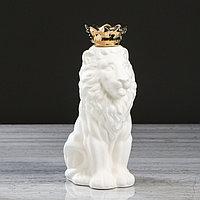 "Ваза настольная ""Лев с короной"" белая, матовая, 25 см, фото 1"