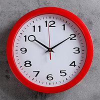 """Часы настенные, серия: Классика, """"Классика"""", красный обод, 28х28 см, микс"""