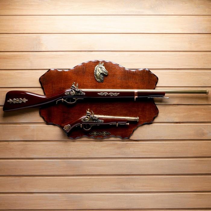 Сувенирное оружие на планшете «Ружьё и мушкет», с эмблемой Конь, 100х40 см