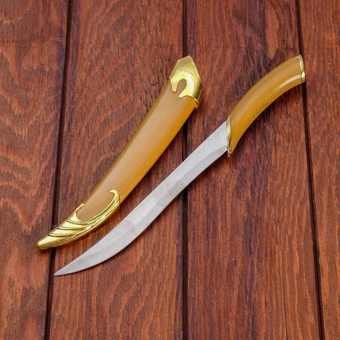 Сувенирный нож, светлое дерево с золотыми вставками 29 см