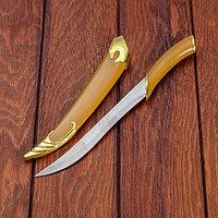 Сувенирный нож, светлое дерево с золотыми вставками 29 см, фото 1