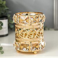 """Подсвечник металл, стекло на 1 свечу """"Кристаллы и цветы"""" золото 11,5х8,5х8,5 см"""