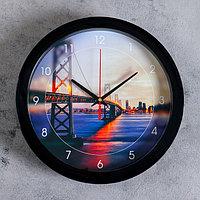 "Часы настенные ""Мост"", чёрный обод, 28х28 см, микс"