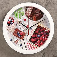 """Часы настенные, серия: Кухня, """"Ягодный завтрак"""", 28х28 см"""