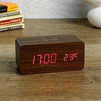 """Часы электронные """"Вайс"""" с будильником, термометром, зарядкой для телефона 15х7х7 см, фото 1"""
