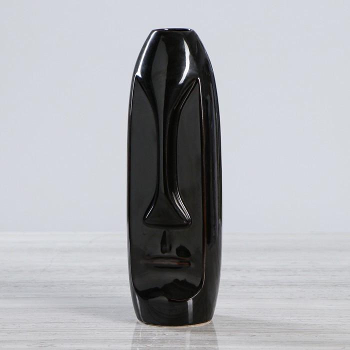 """Ваза настольная """"Лицо"""", глянец, чёрная, 28 см"""