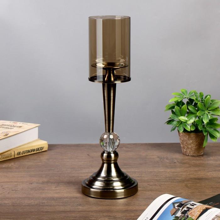 """Подсвечник металл, стекло на 1 свечу """"Кристалл"""" под латунь 44х14х14 см"""