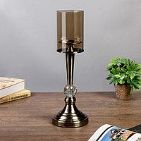"""Подсвечник металл, стекло на 1 свечу """"Кристалл"""" под латунь 44х14х14 см, фото 1"""