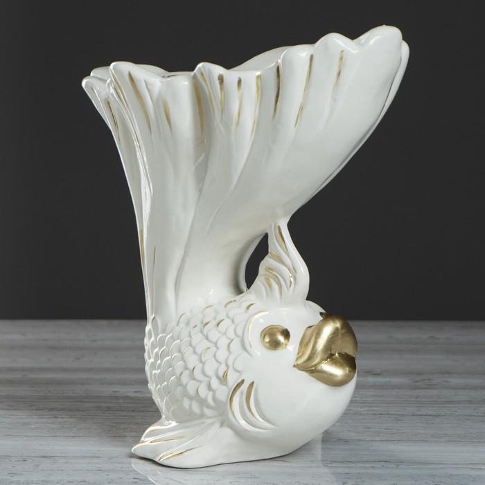 """Ваза настольная """"Рыбка"""", золотистый декор, 25.5 см"""