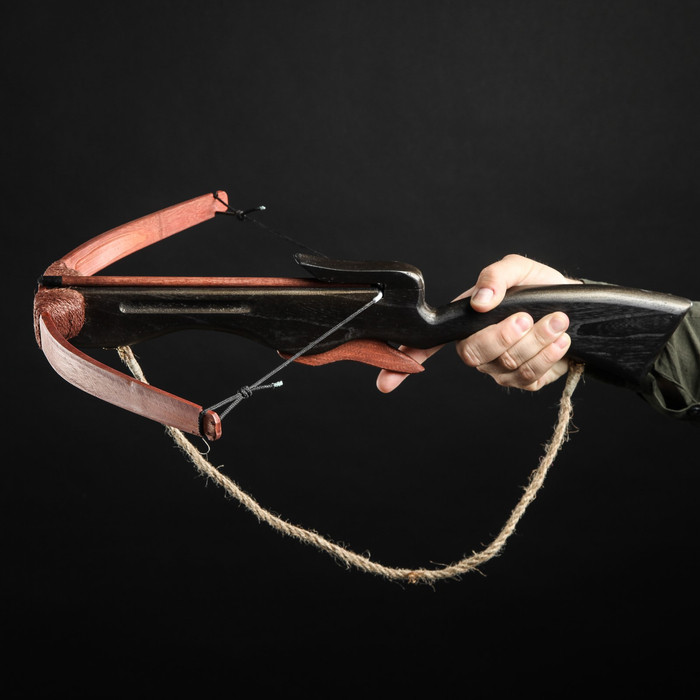 """Сувенирное деревянное оружие """"Арбалет"""", взрослый, чёрный, массив ясеня, 70 см"""