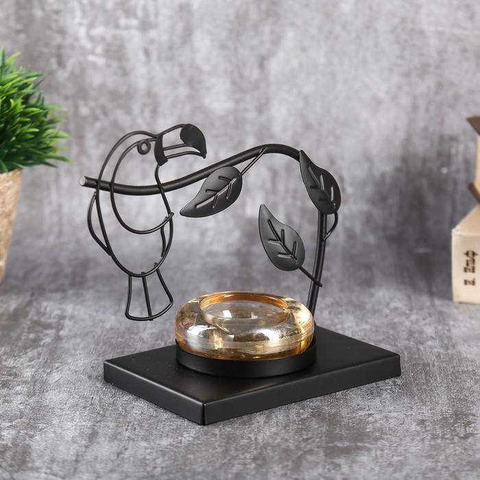"""Подсвечник металл, стекло на 1 свечу """"Тукан на ветке"""" чёрный 13,5х15х8 см"""
