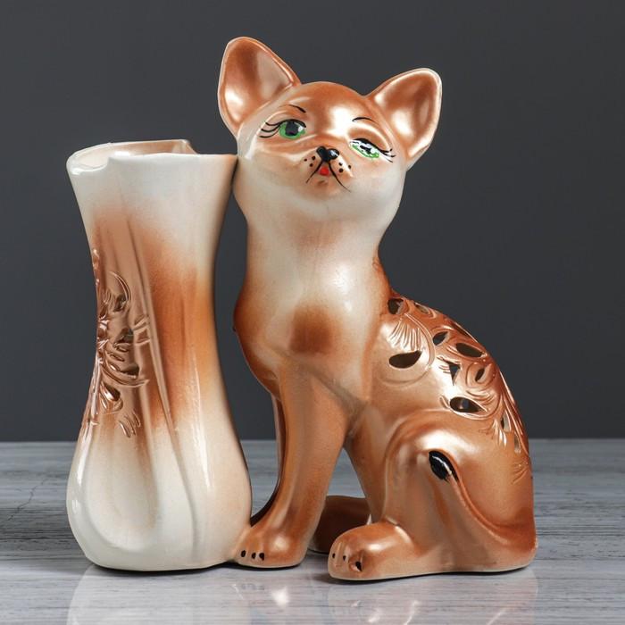"""Ваза настольная """"Кот"""", резка, 24 см, микс"""