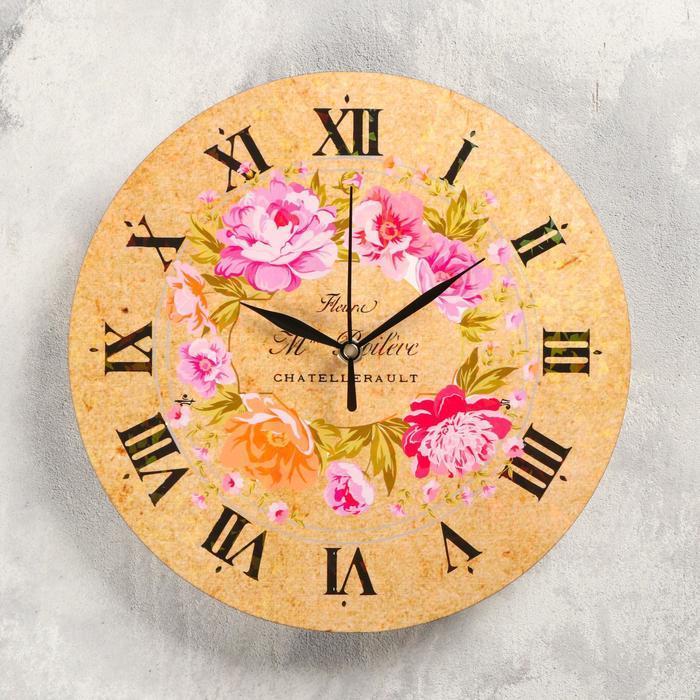 "Часы настенные ""Розы"", d-23.5. плавный ход"