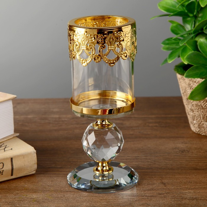 "Подсвечник стекло на 1 свечу ""Шар кристалл и золотые узоры"" 16х6,3х6,3 см"