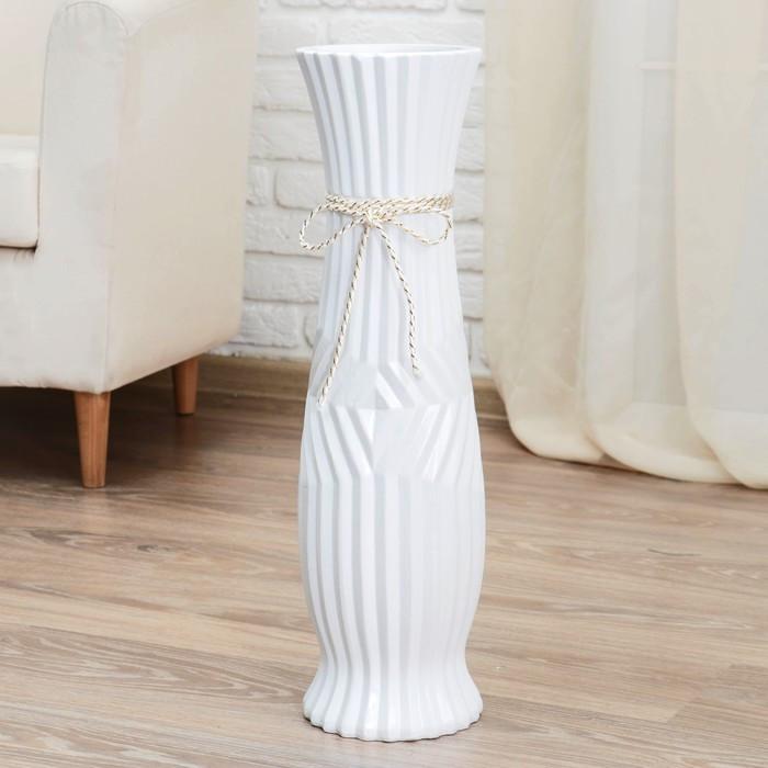 "Ваза керамика напольная ""Данте"" 16*60 см, зигзаг, со шнурком, талия, белая"