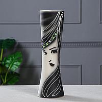 """Ваза напольная """"Марика-Росса"""", дама, чёрно-белая, 41 см, микс, фото 1"""