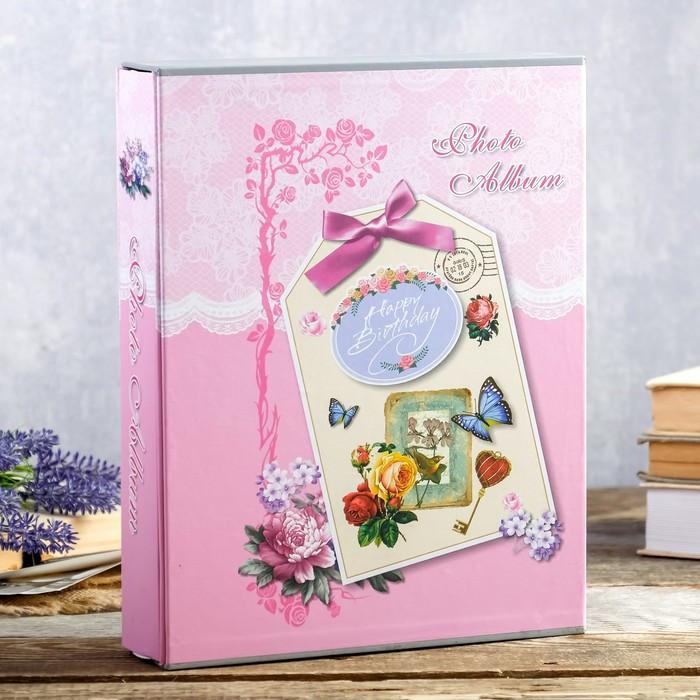 """Фотоальбом на 200 фото 13х18 см """"Цветочная открытка"""" в коробке МИКС 29,5х23х5,5 см"""
