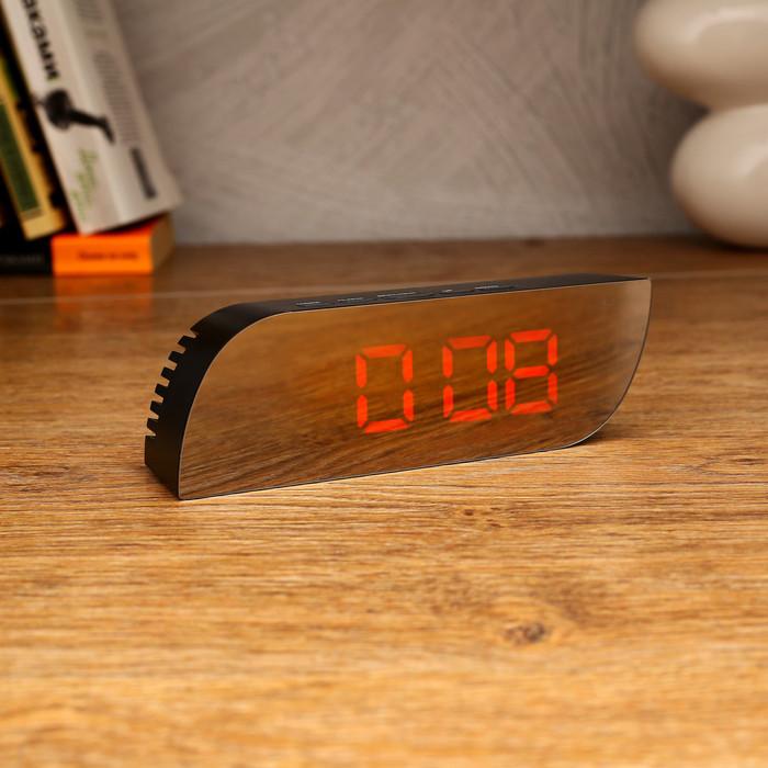 Часы-будильник электронные с календарём и термометром, 3 ААА, от USB, 15х3.5х5 см