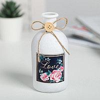 Ваза стеклянная Love, цвет белый, фото 1