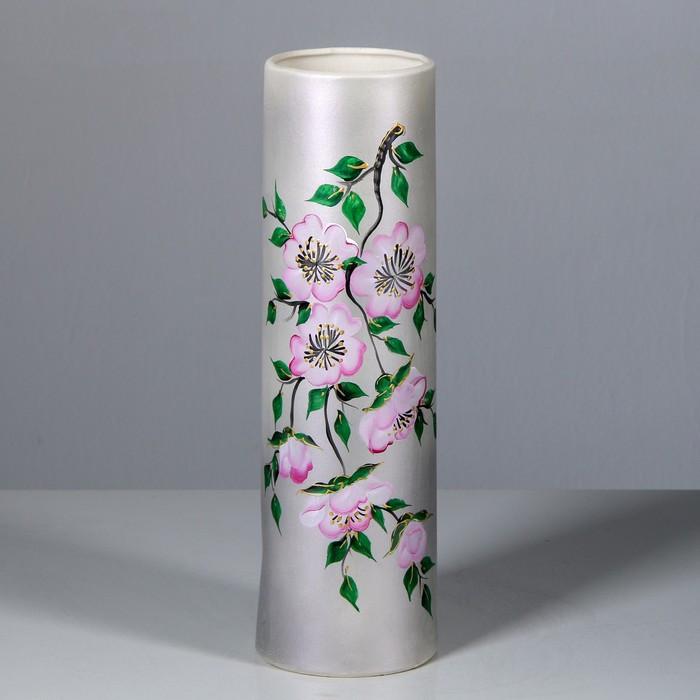 "Ваза настольная ""Максимус"", цветы, серебристая, 37 см"
