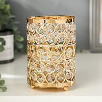 "Подсвечник металл, стекло на 1 свечу ""Кристаллы и подсолнухи"" золото 13х9х9 см"