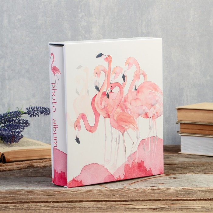 """Фотоальбом на 200 фото 10х15 см """"Фламинго акварелью"""" в коробке 26х21,5х5,5 см"""