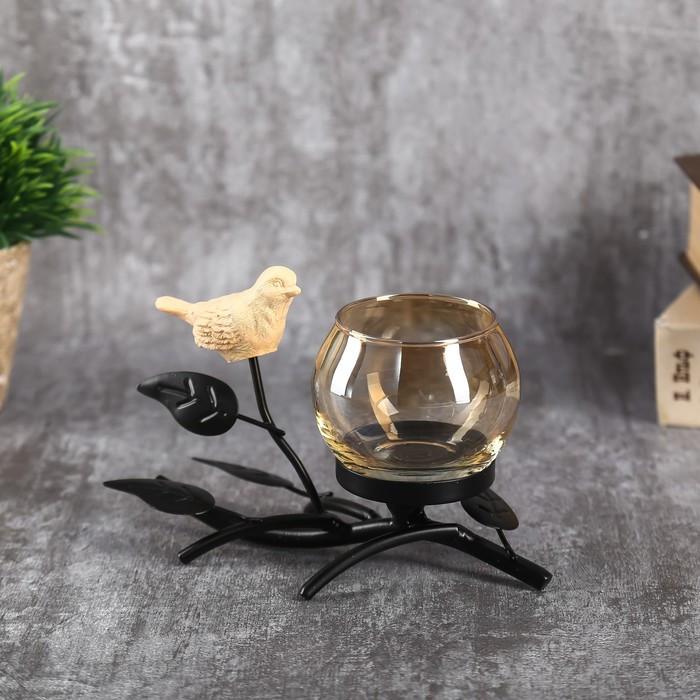 "Подсвечник металл, стекло на 1 свечу ""Птица на ветке"" чёрный 10х15х7,3 см"