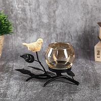 "Подсвечник металл, стекло на 1 свечу ""Птица на ветке"" чёрный 10х15х7,3 см, фото 1"