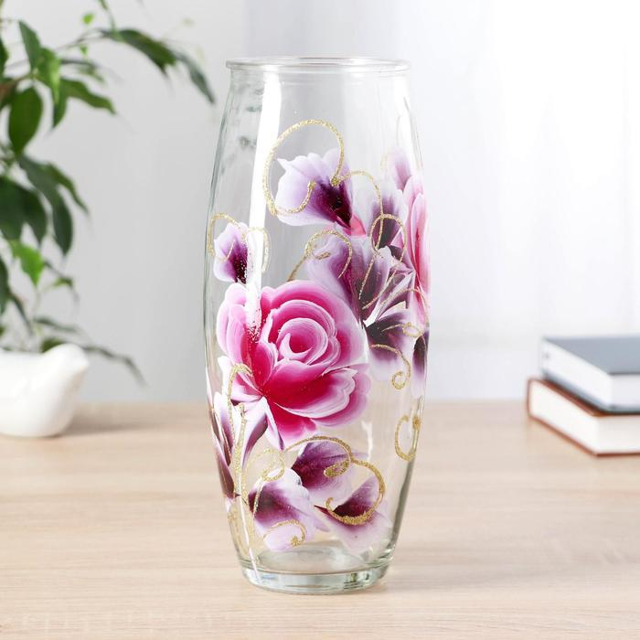 Ваза Роза с росписью на проз.стекле, d-7см 10х23 см