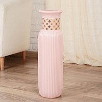 """Ваза напольная керамика """"Вилена люкс"""" 16,5*60 см, ободок, розовый"""